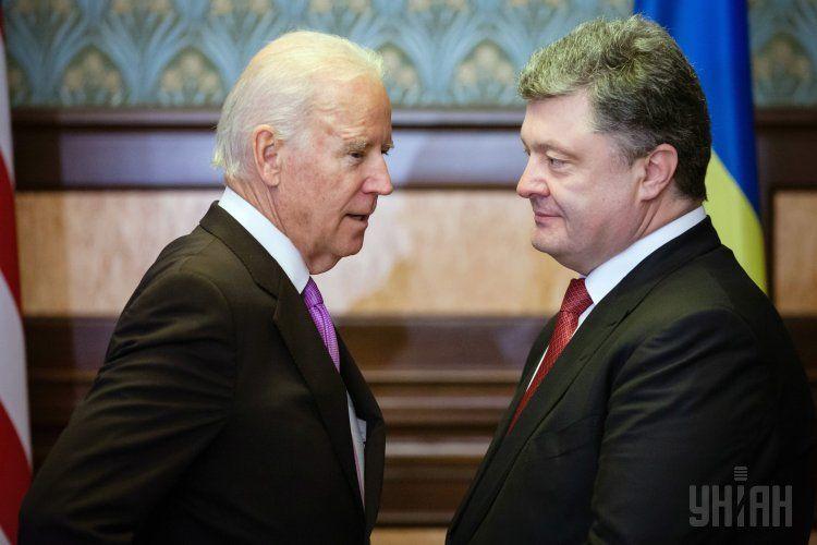 Петр Порошенко и Госсекретарь США Джо Байден.