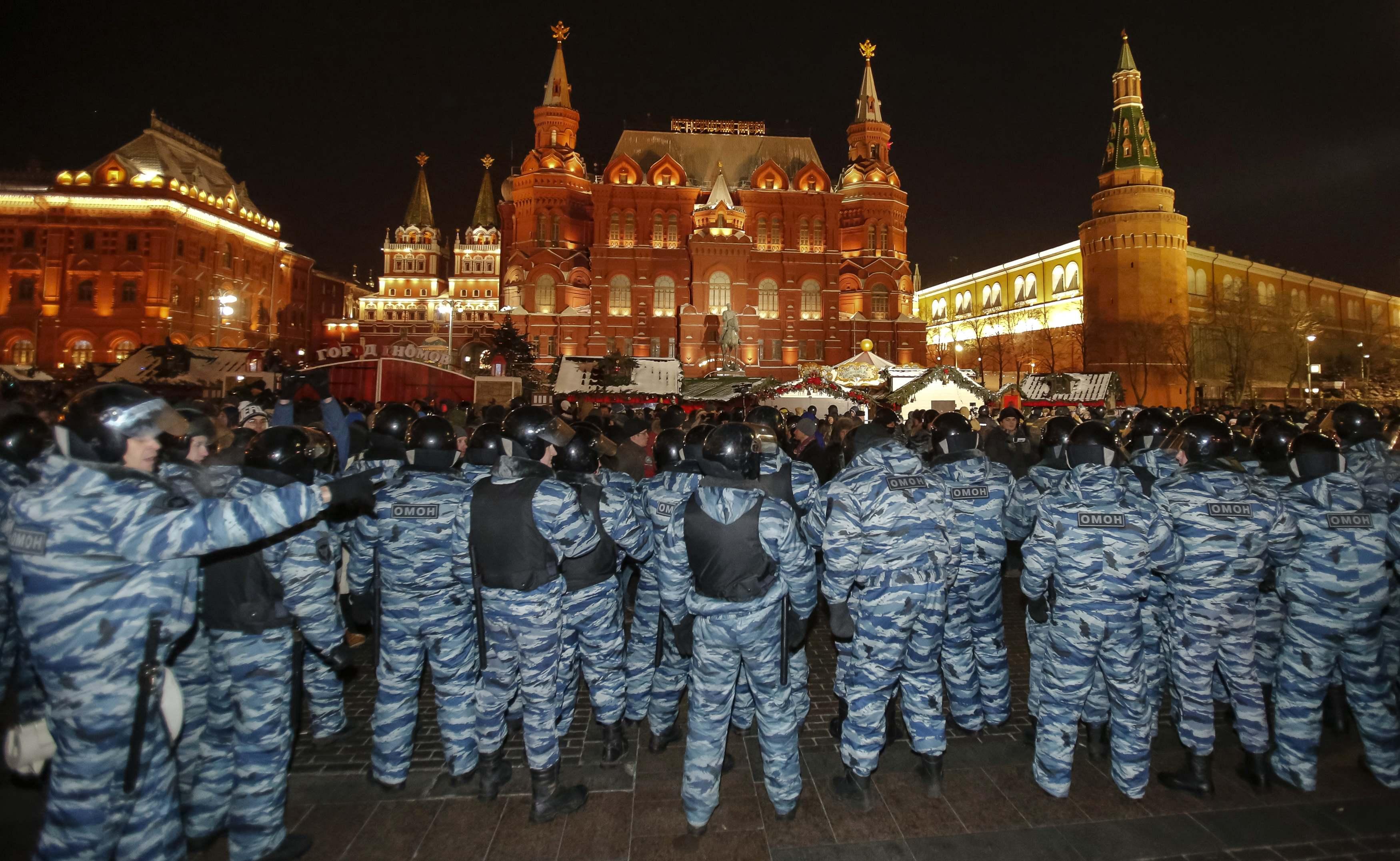 Российские силовики на Манежной площади