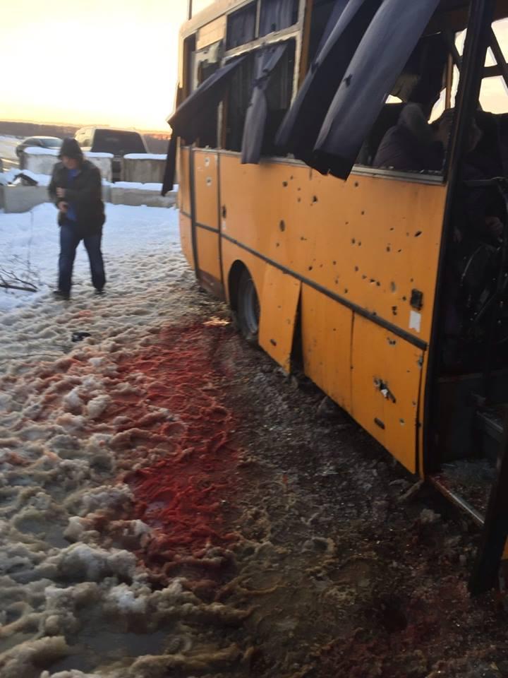 Обстрел автобуса под Волновахой, иллюстрация.