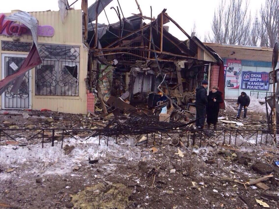 Последствия обстрелов боевиками на Донбассе, иллюстрация
