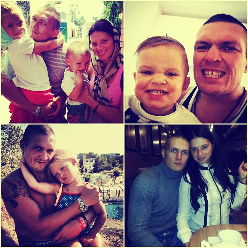 Александр Усик с женой и детьми