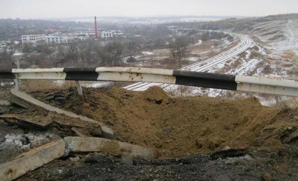 Взорванный мост под Станицей Луганской