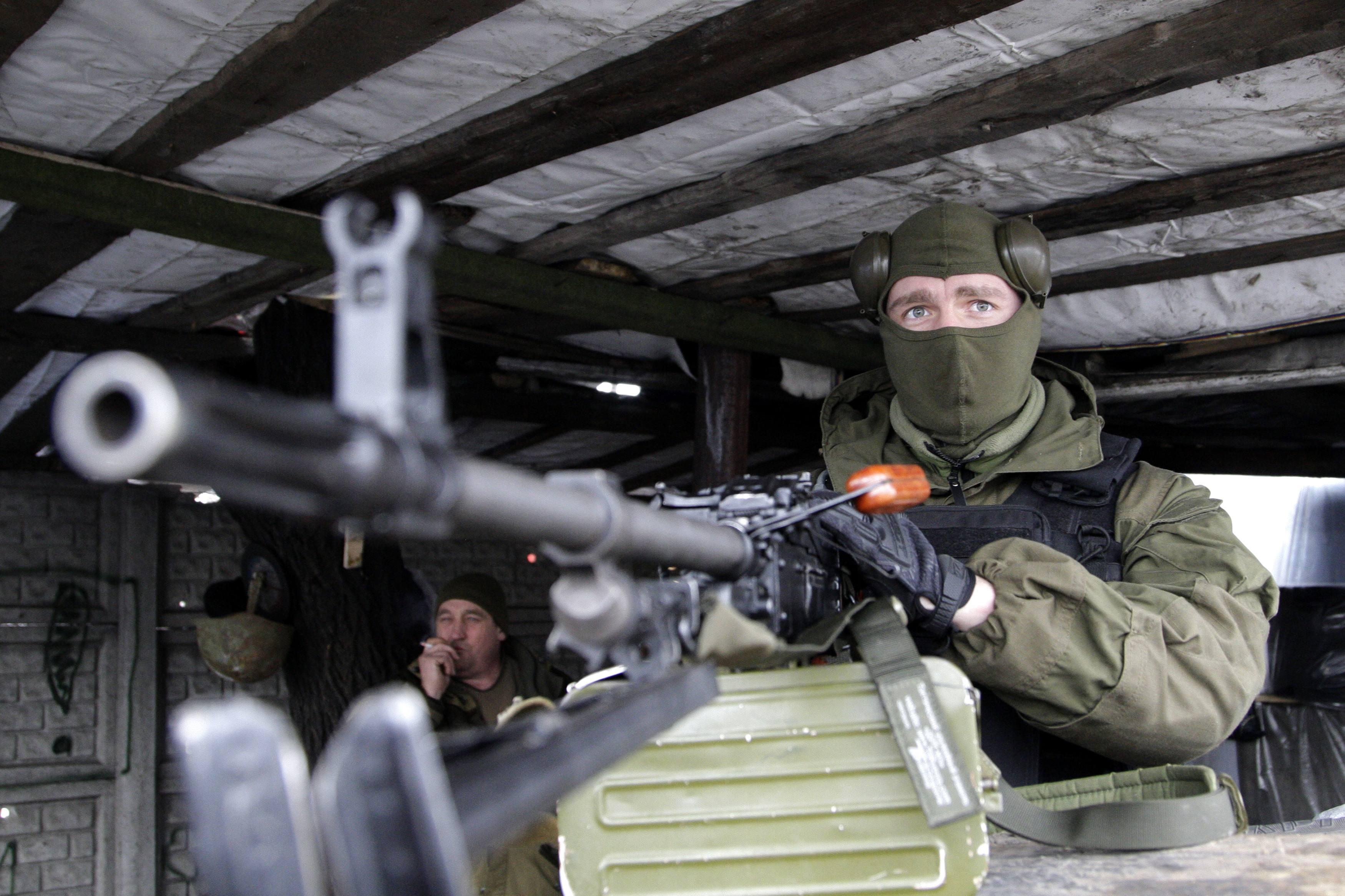 Боевик ДНР у пулемета