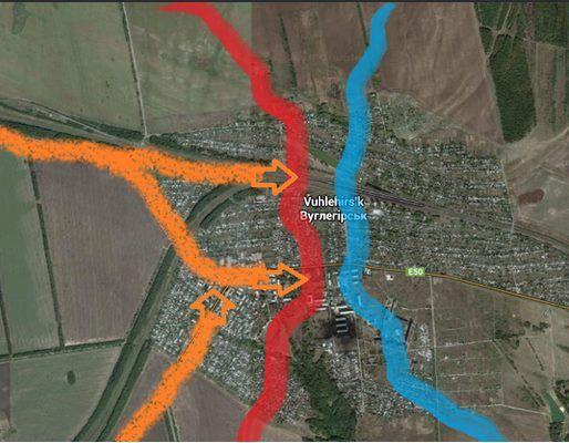Карта расположения сил в Углегорске