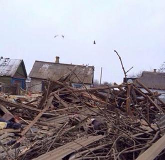 Последствия обстрела на Донбассе, иллюстрация