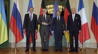 Сергей Лавров (РФ), Франк-Вальтер Штайнмайер (Германия), Павел Климкин (Украина) и Лоран Фабиус (Франция)