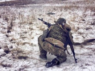 """Бойцы полка """"Днепр-1"""" под Мариуполем, иллюстрация"""