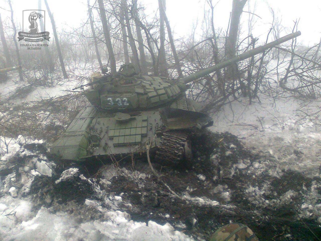 Сожженная техника боевиков под Дебальцево
