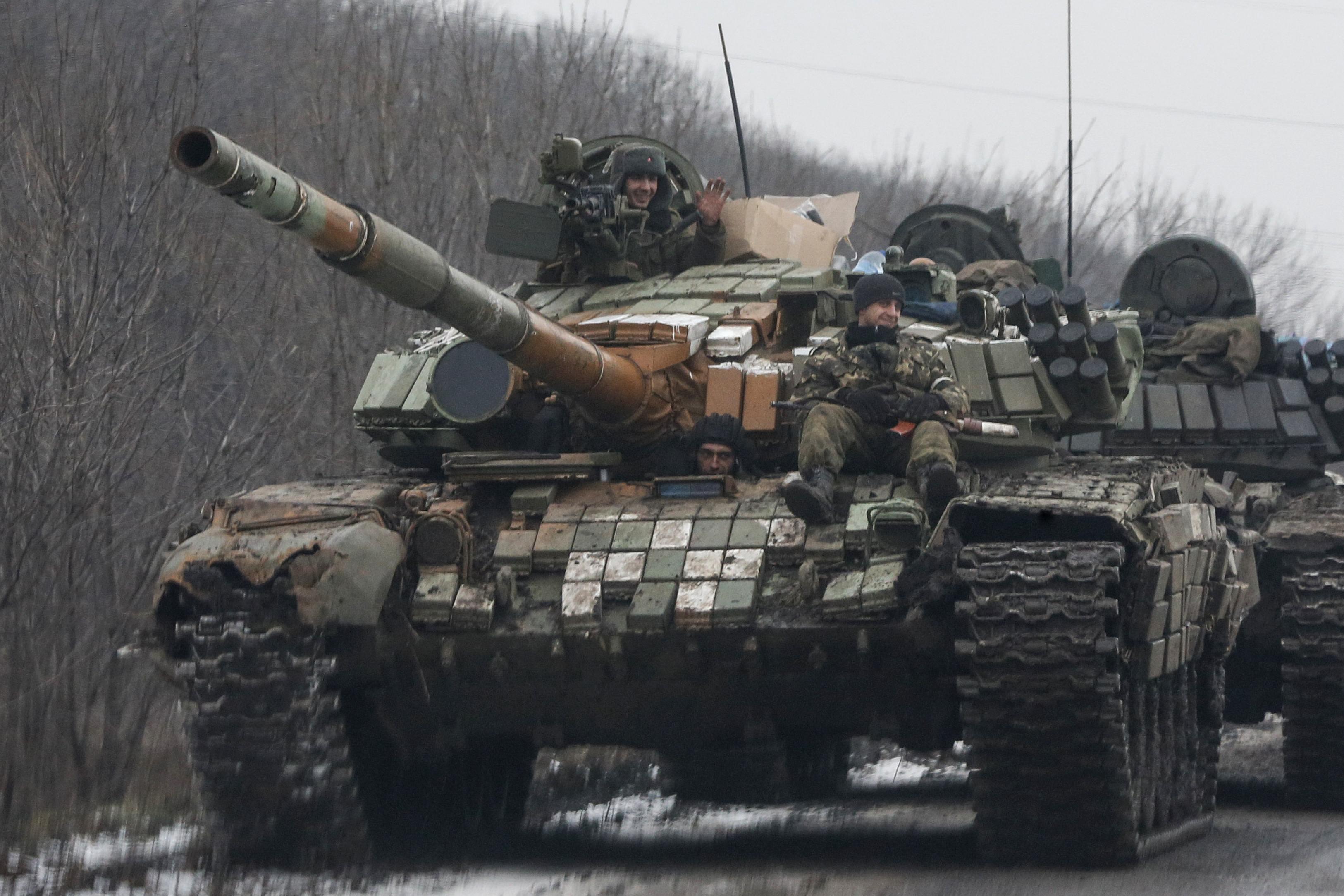 Танк боевиков под Горловкой