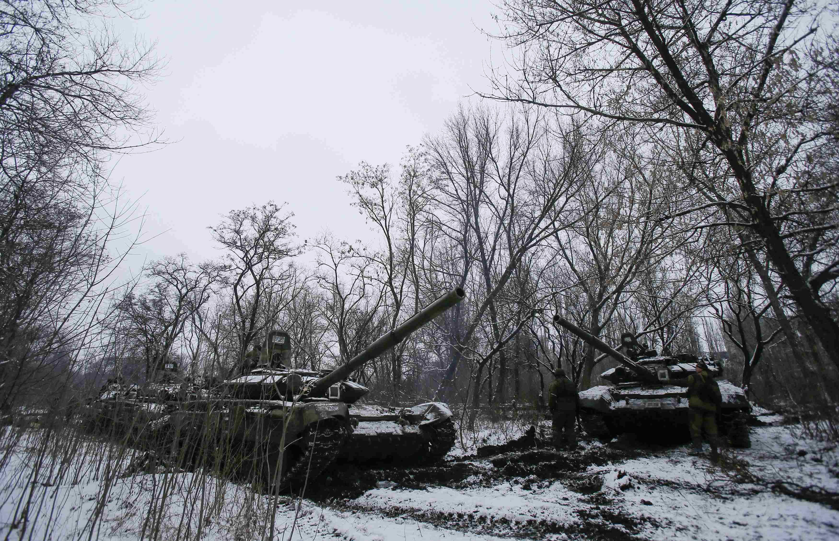 Танки боевиков в Горловке