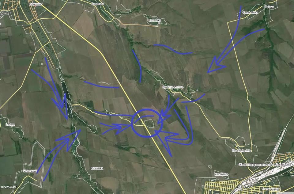Карта окрестностей Логвиново и направлений наступления оккупантов