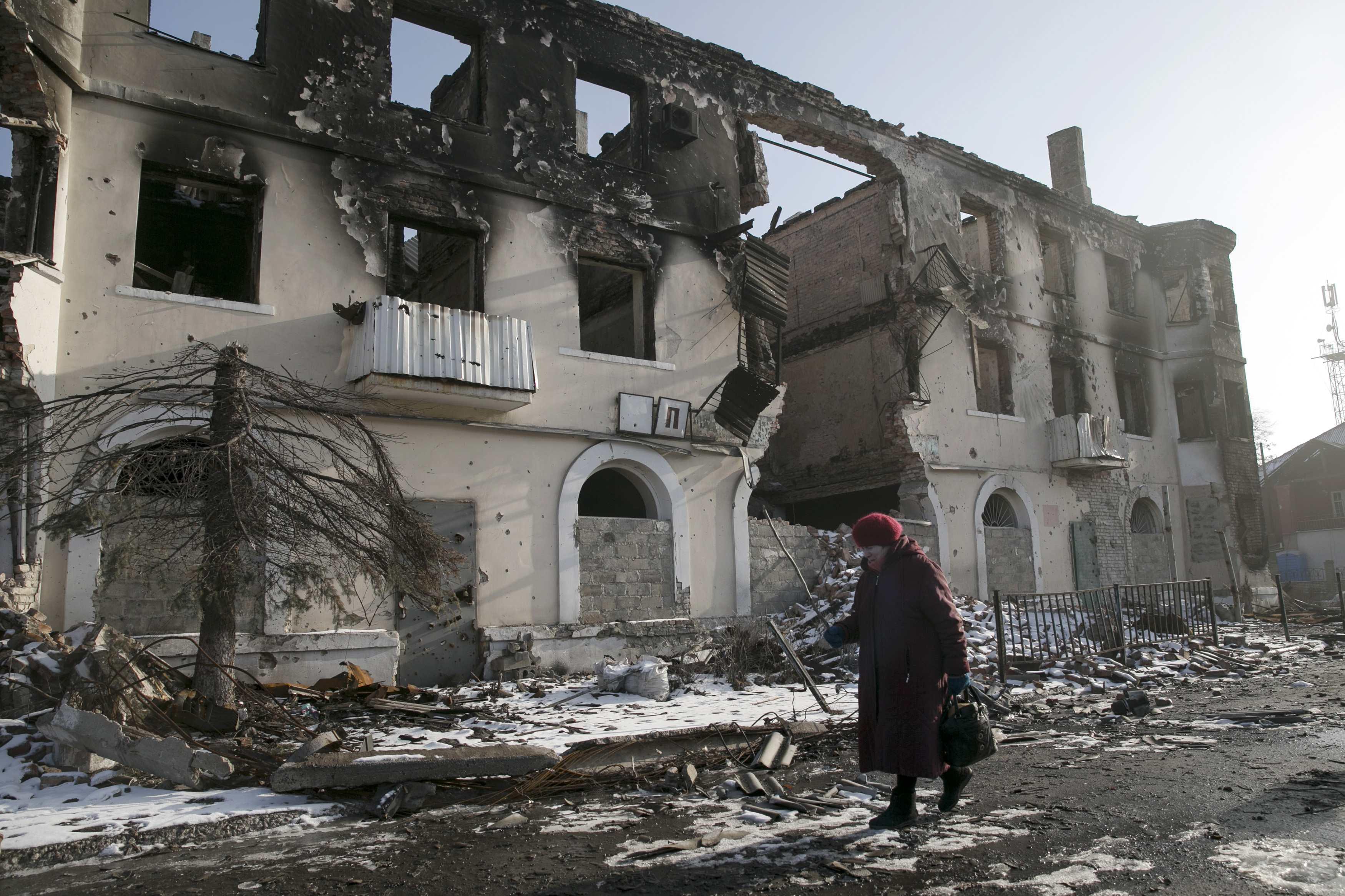 Разрушенный Донецк, иллюстрация