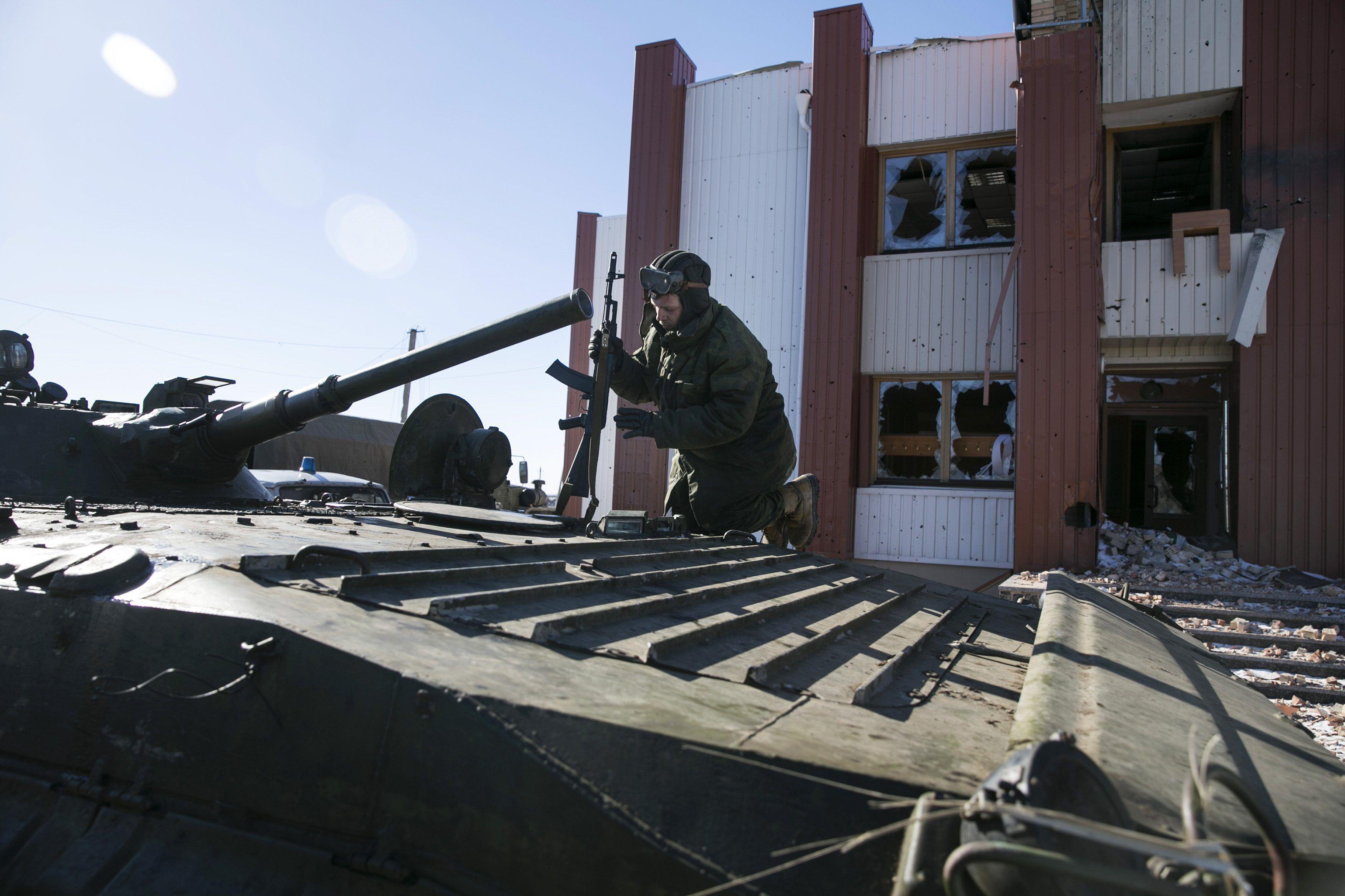 Боевик ДНР в районе Дебальцево