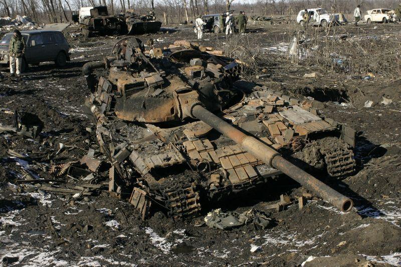 Подбитый танк, иллюстрация