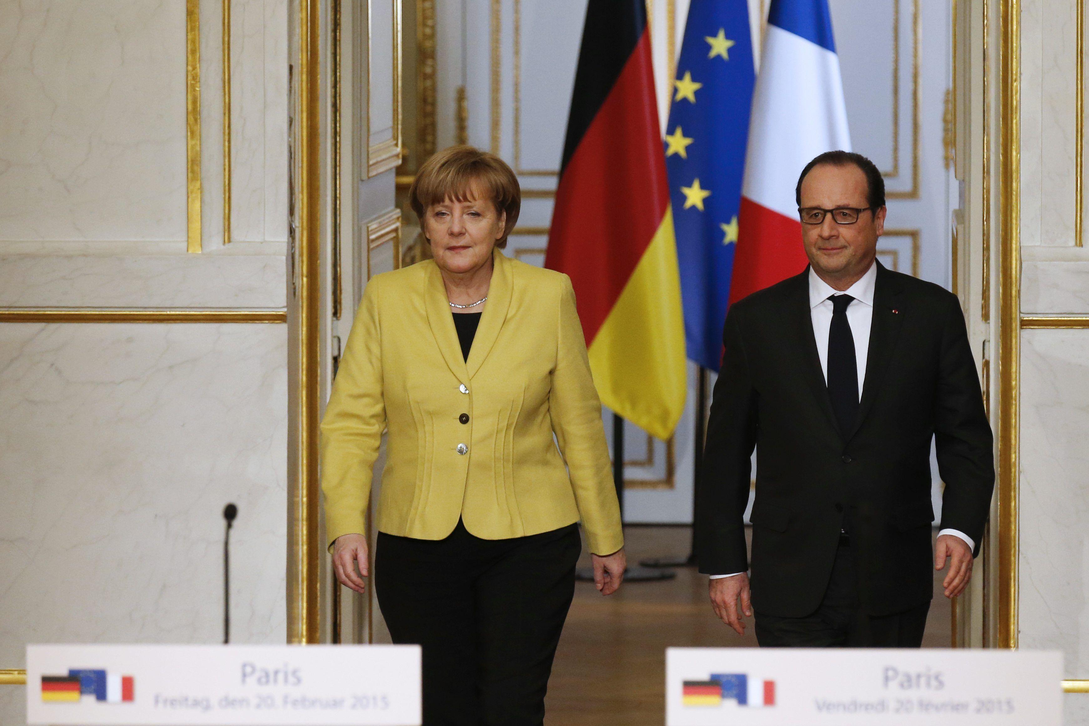 Меркель и Олланд после переговоров по Украине