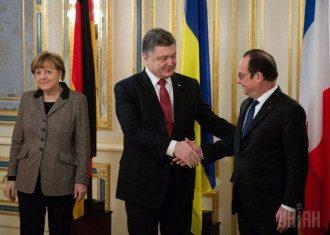 Ангела Меркель, Петр Порошенко и Франсуа Олланд