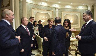 Владимир Путин, Ангела Меркель, Франсуа Олланд и Петр Порошенко