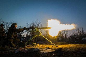 Украинский военный у пулемета, иллюстрация