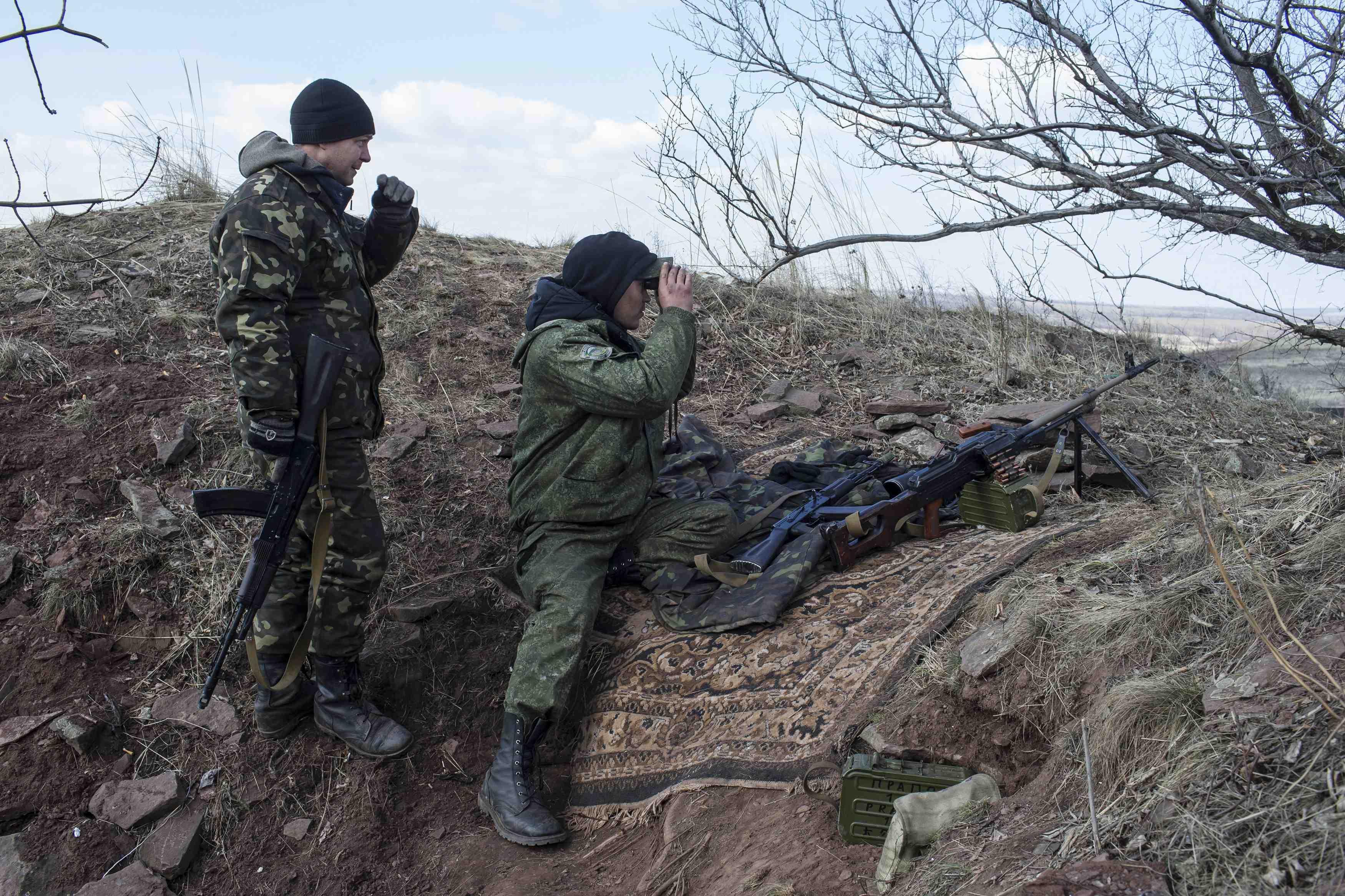 Учения боевиков под Донецком