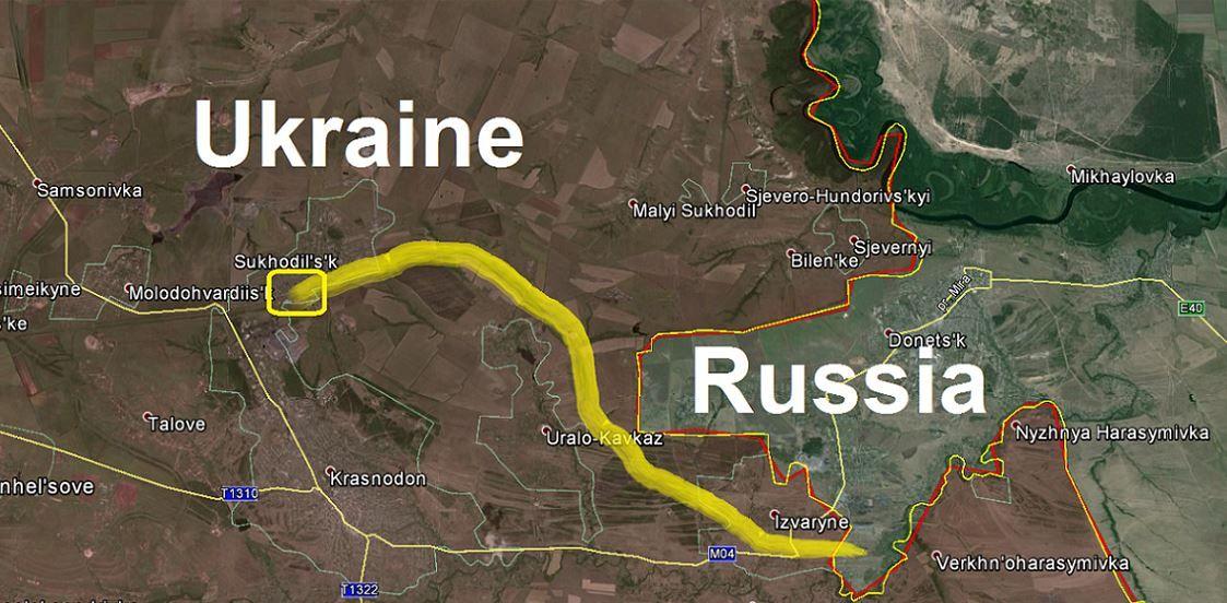 Поезд с боеприпасами, предположительно, пересек границу в оккупированном Изварино.