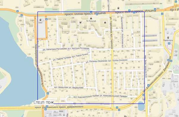 Карта оцепленной части Донецка