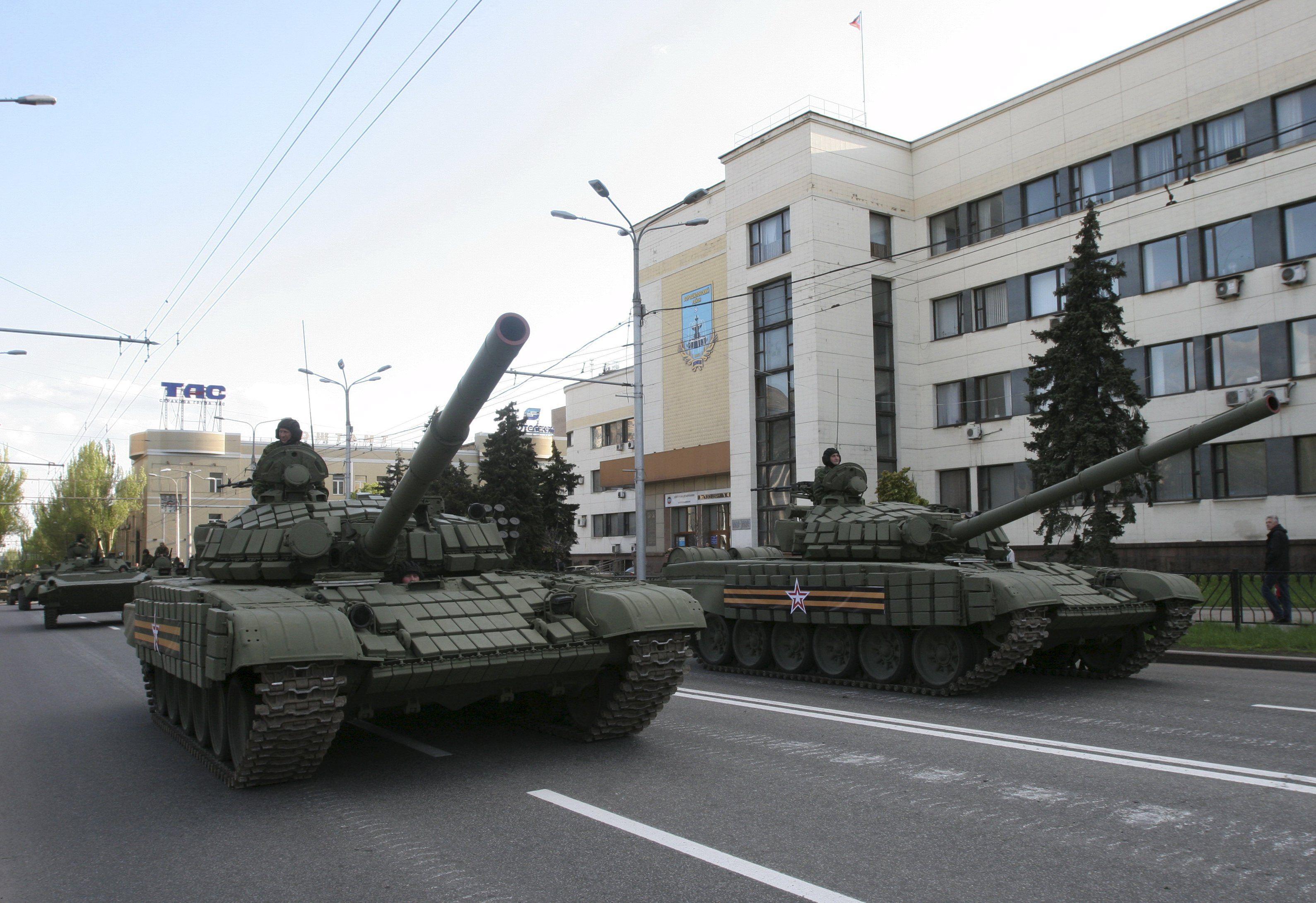 Репетиция парада боевиков в Донецке, иллюстрация