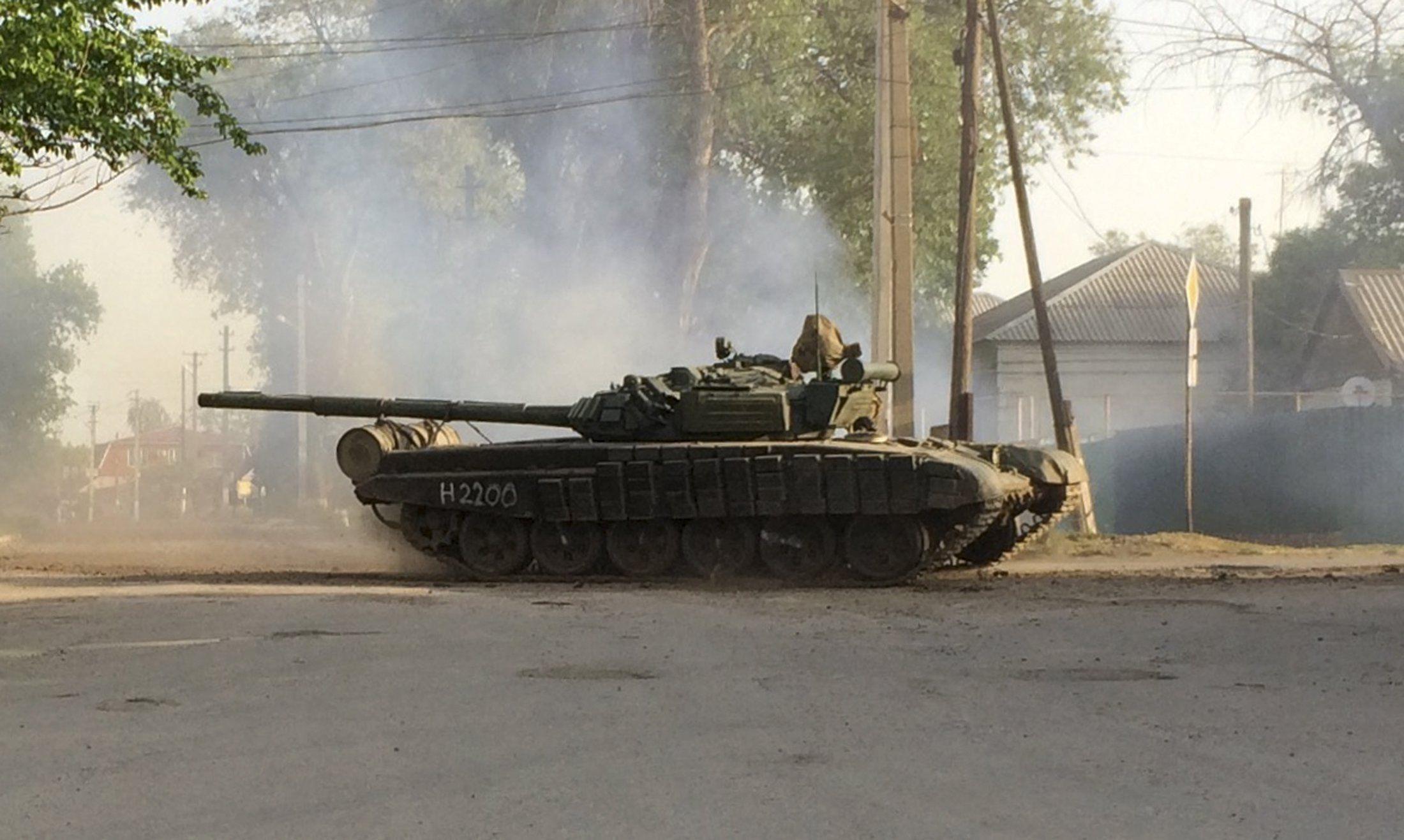 Российский танк недалеко от границы Украины