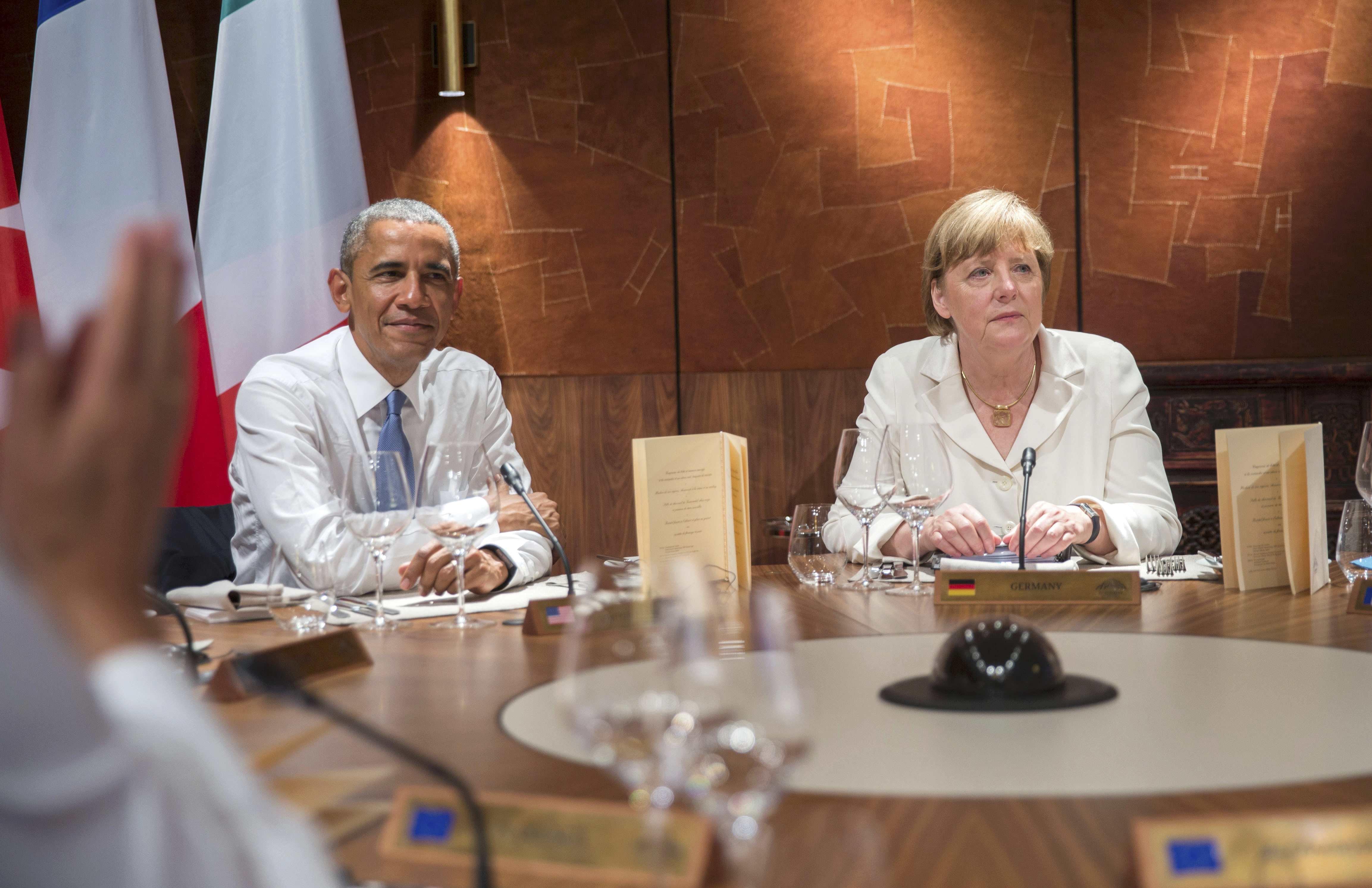 Обама и Меркель на саммите G7