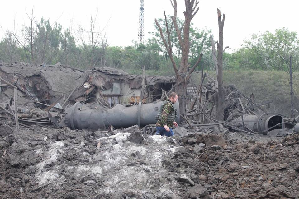 Воронка на месте взрыва
