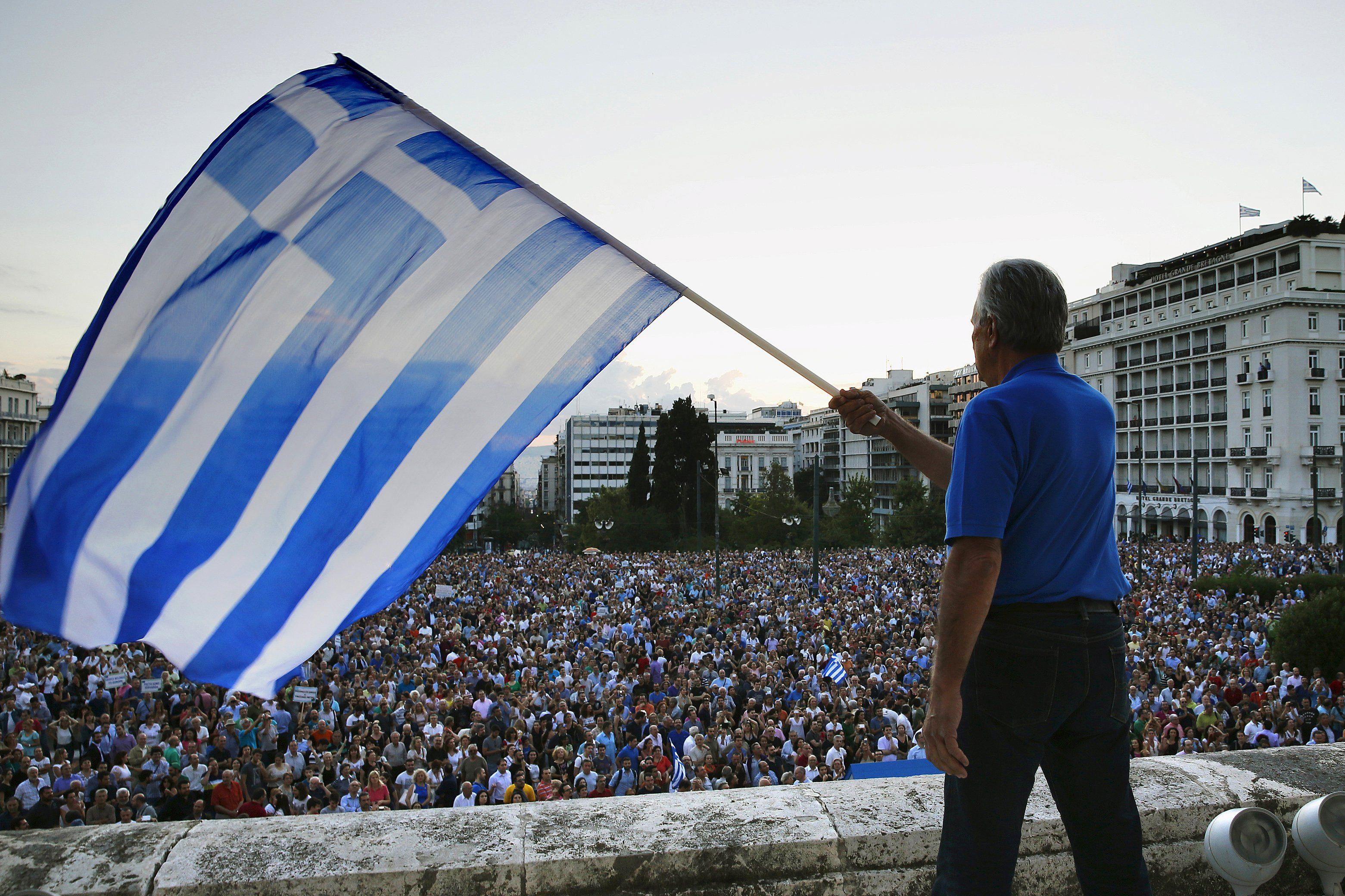 Протесты против выхода из еврозоны в Греции, иллюстрация