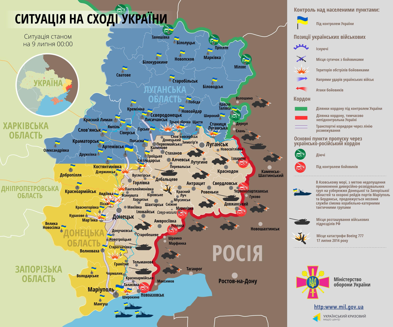 Карта зоны АТО на 9 июля