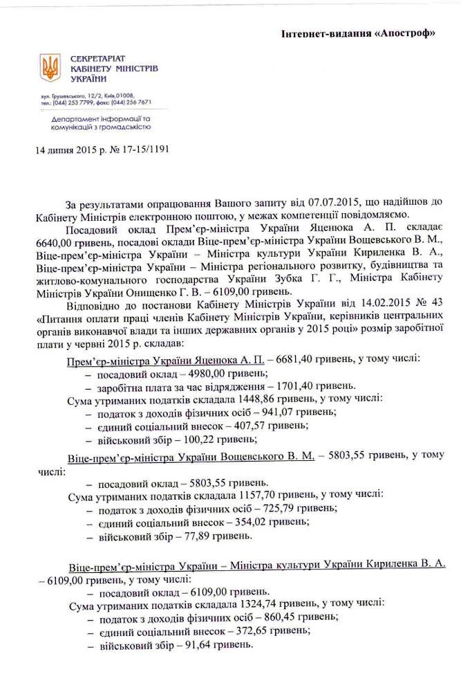 Официальный ответ секретариата Кабмина