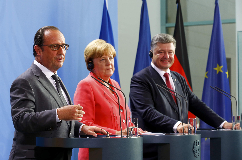 Олланд, Меркель и Порошенко в Берлине