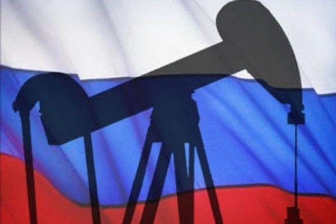 Нефтяная вышка на фоне флага России, иллюстрация