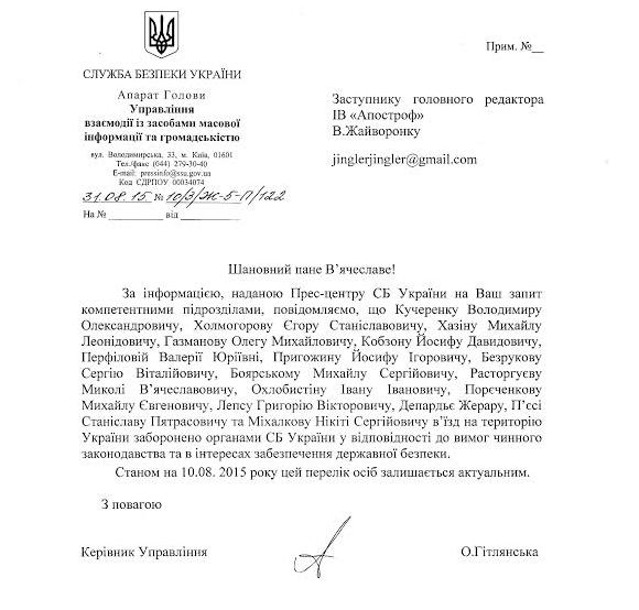Документ от СБУ