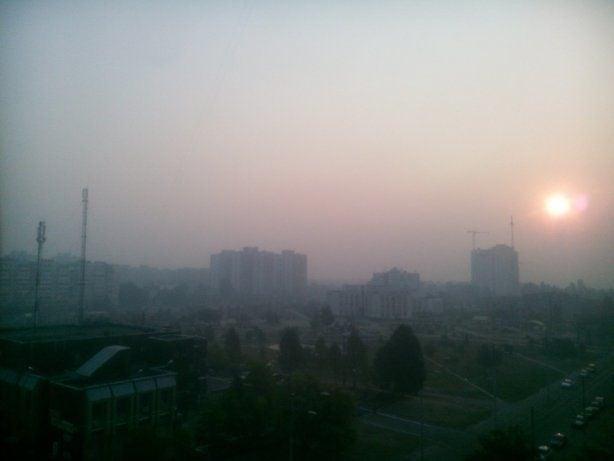 Дымный смог над Киевом