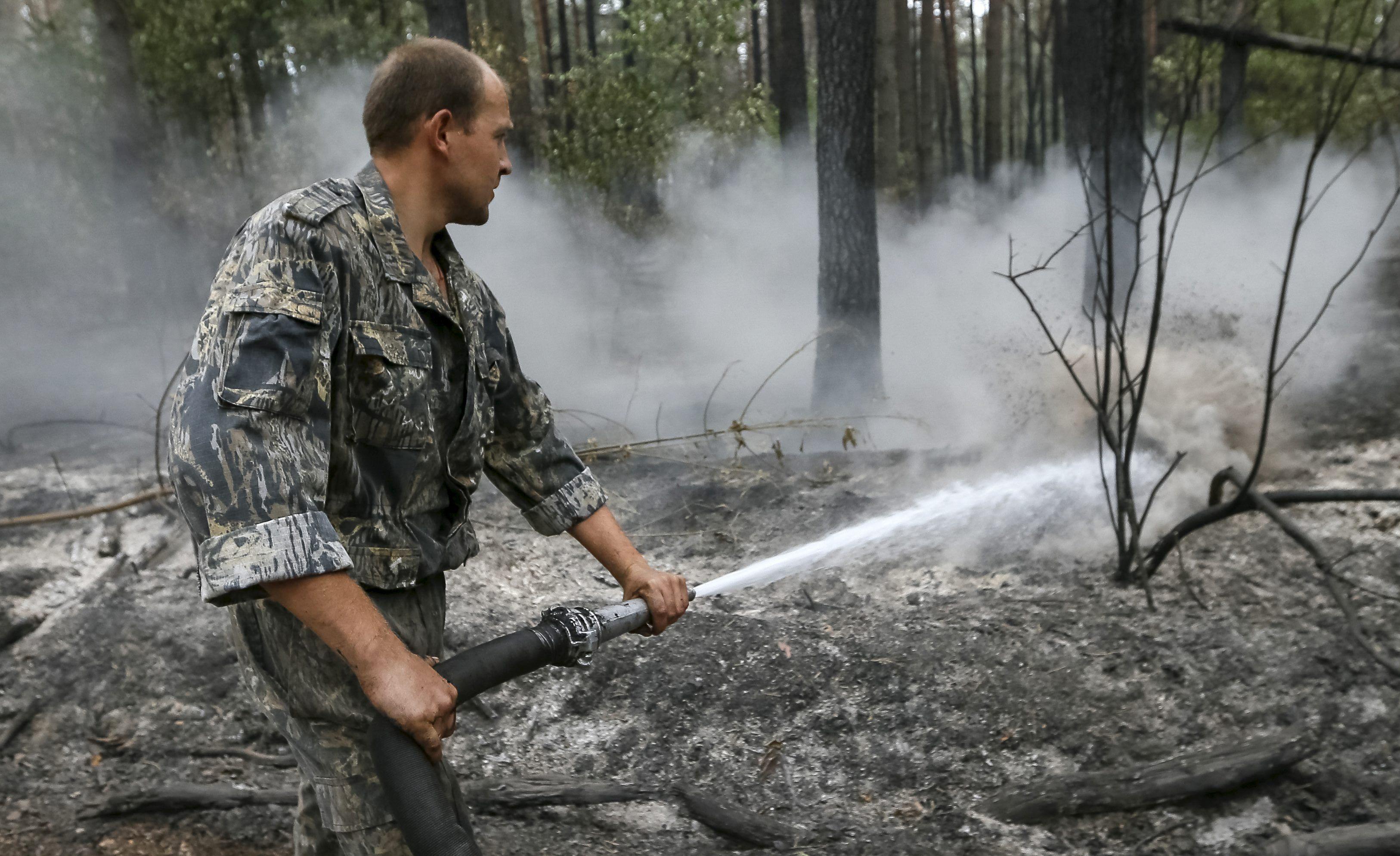 Тушение пожара в лесу, иллюстрация