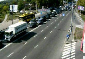 Огромная пробка после аварии.