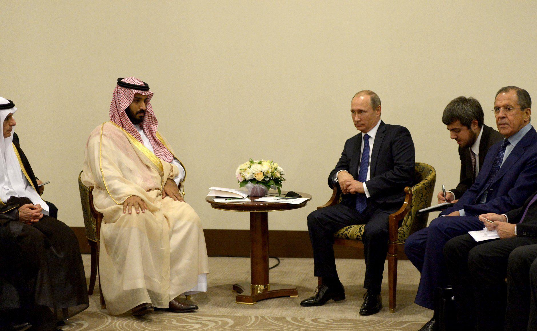 Встреча Владимира Путина с заместителем Наследного принца, вторым заместителем премьер-министра и Министром обороны Саудовской Аравии Мухаммадом ибн Салманом Аль Саудом.