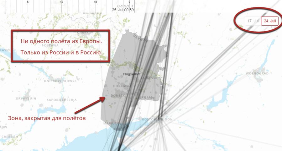 Карта полетов российских авиакомпаний на Донбассе
