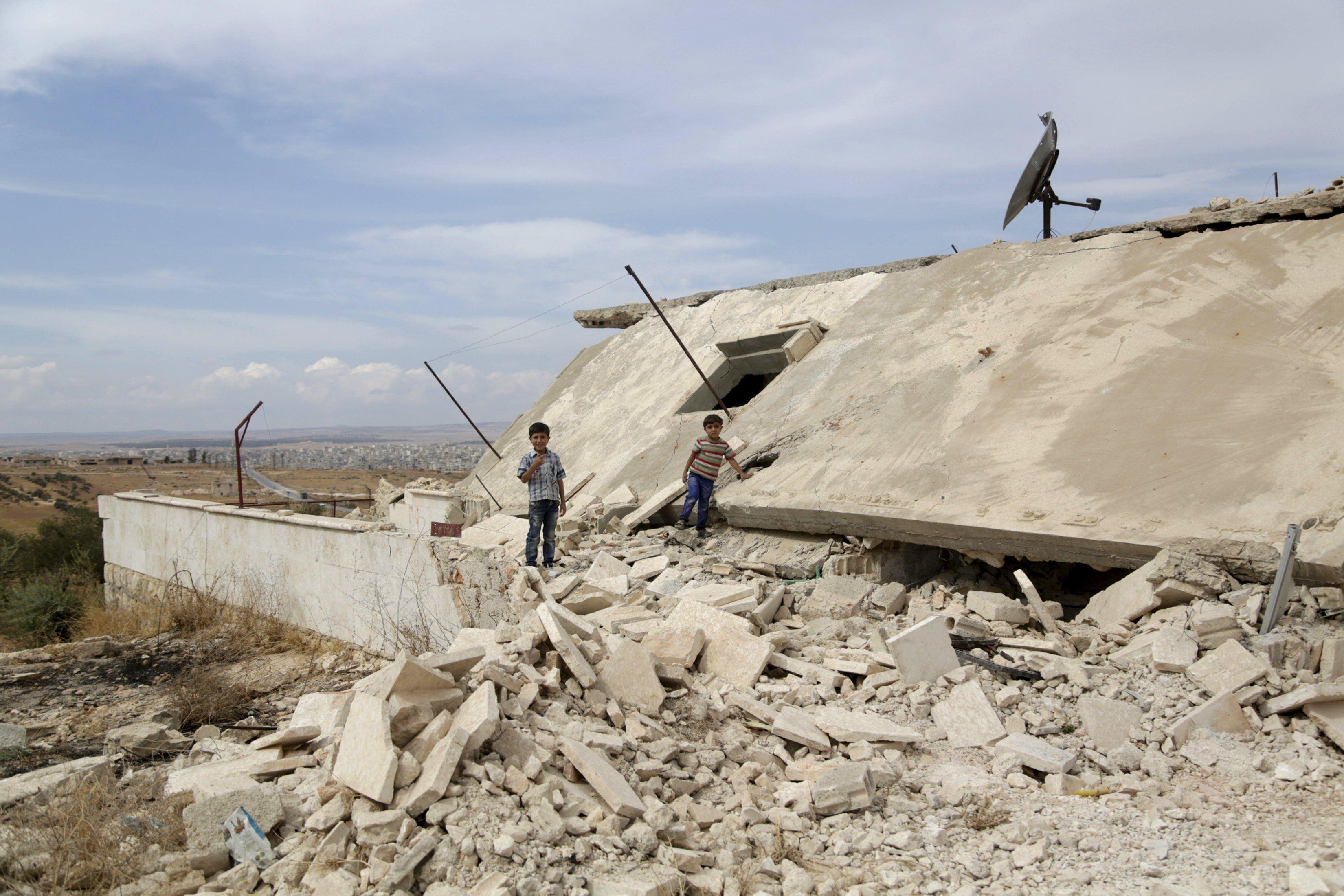 Разрушенное здание в Сирии, иллюстрация