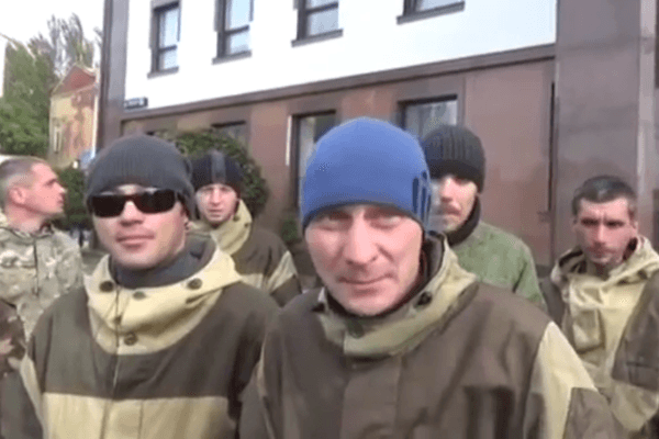 Протест боевиков в Донецке, иллюстрация.