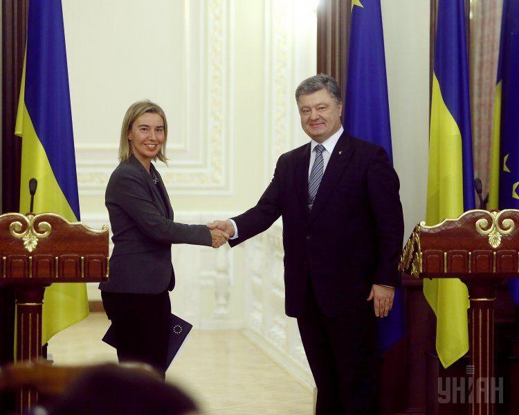 Федерика Могерини и Петр Порошенко
