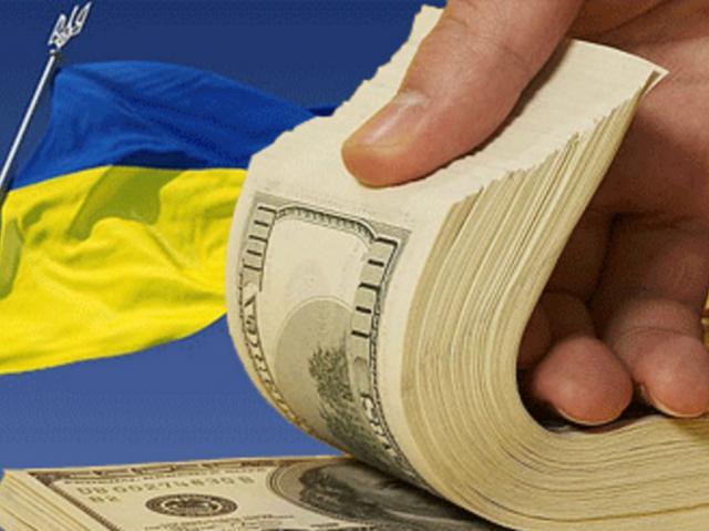 Флаг Украины и доллары, иллюстрация