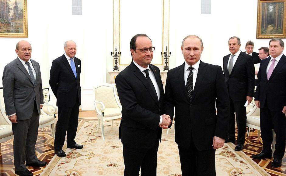 Франсуа Олланд и Владимир Путин в Кремле