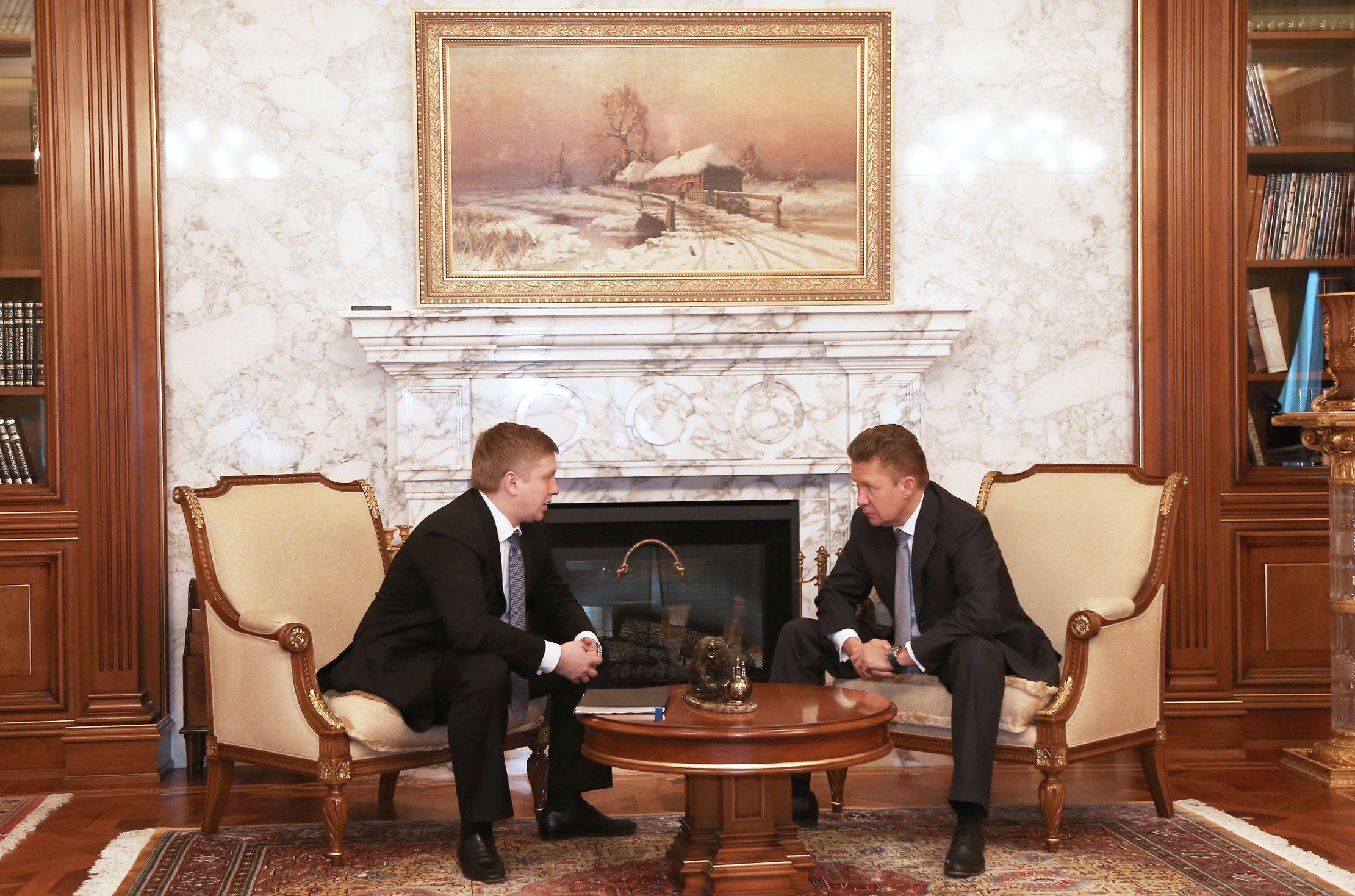 Андрей Коболев и Алексей Миллер на переговорах по газу