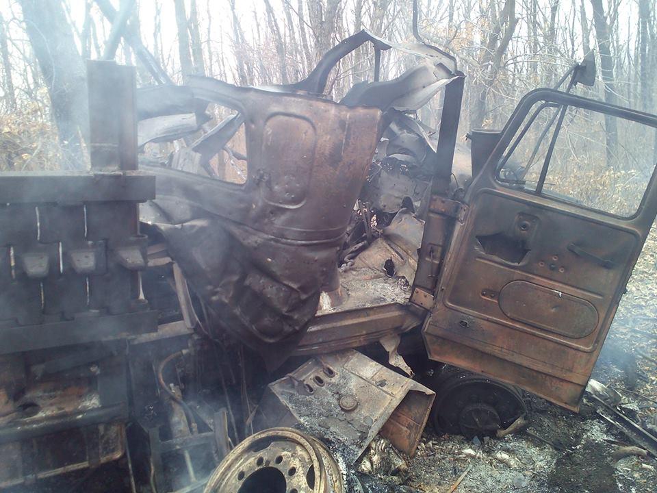 Взорванный грузовик, иллюстрация