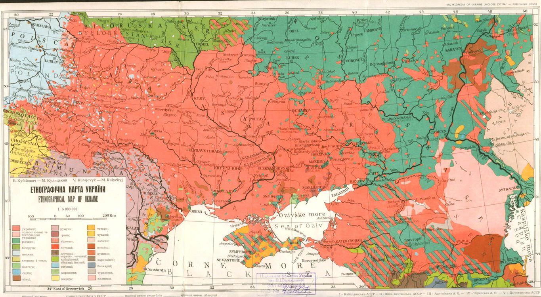 Карта преобладающего расселения украинцев в 1918 году