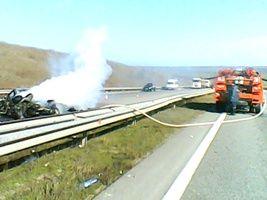 На Одесчине BMW влетел в отбойник и загорелся