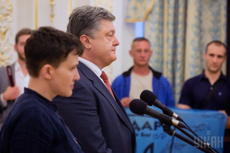 Надежда Савченко и Петр Порошенко